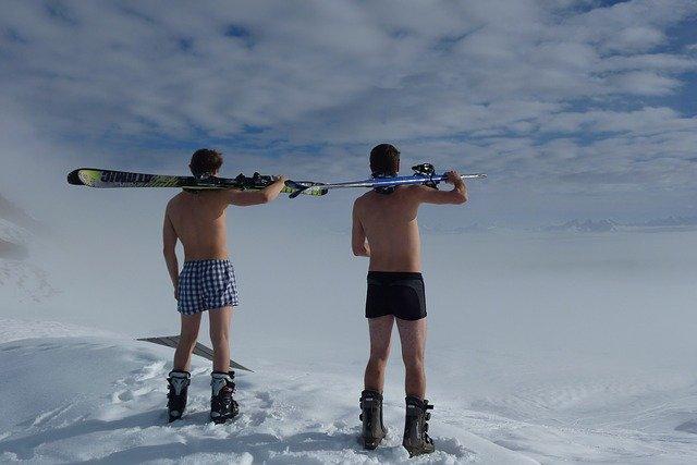 shirtless skiing